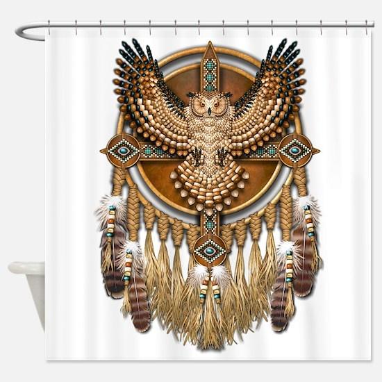 Native American Owl Mandala 1 Shower Curtain