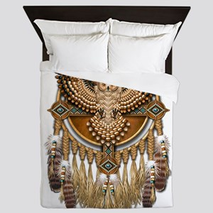 Native American Owl Mandala 1 Queen Duvet