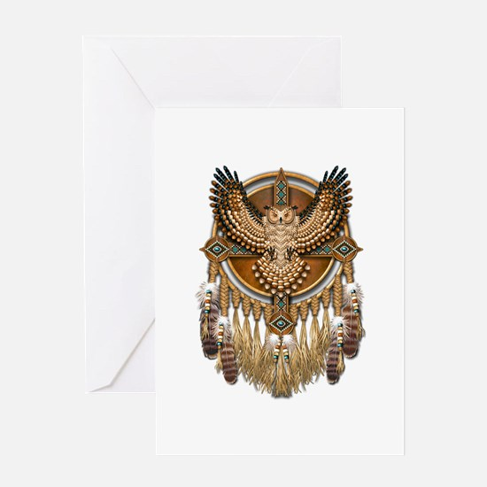 Native American Owl Mandala 1 Greeting Card