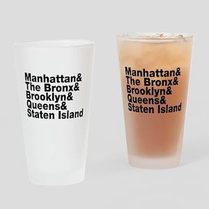 Five Boroughs New York City Drinking Glass