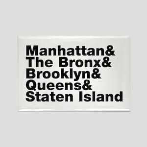 Five Boroughs New York City Rectangle Magnet