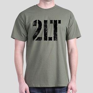 2LT rank black distressed print Dark T-Shirt