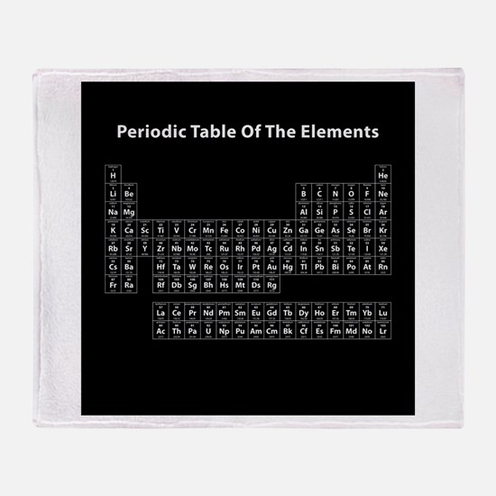 Black Periodic Table Throw Blanket