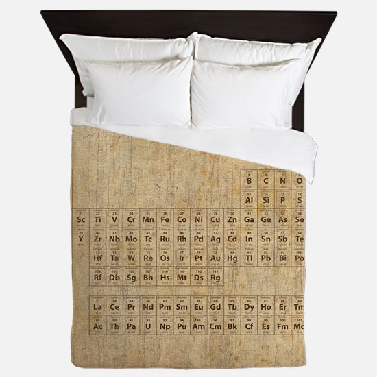 Vintage Periodic Table Queen Duvet
