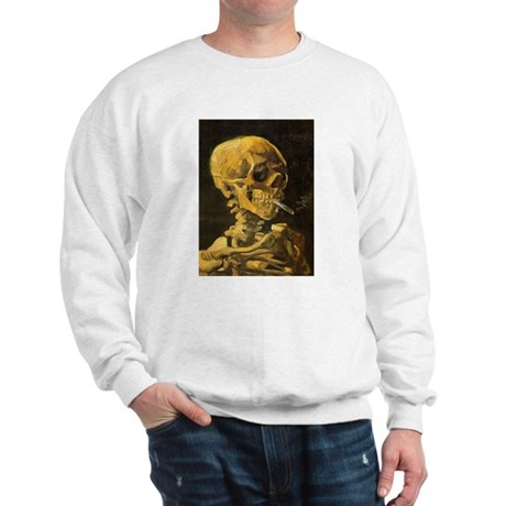 Van Gogh Skull With Burning Cigarette Sweatshirt