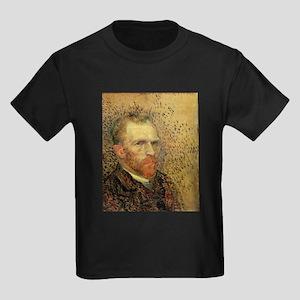 Van Gogh Self Portrait Kids Dark T-Shirt