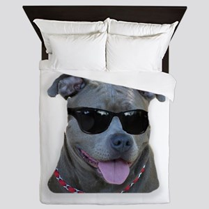 Pitbull in sunglasses Queen Duvet