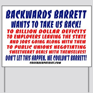 BACKWARDS BARRETT Yard Sign