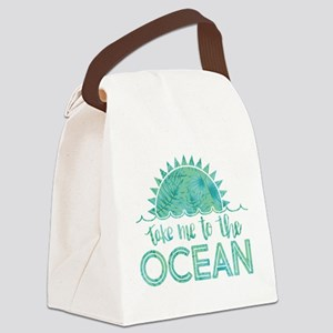 Take Me To The Ocean Print Canvas Lunch Bag