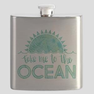 Take Me To The Ocean Print Flask