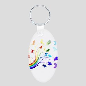 Butterflies and Rainbows Aluminum Oval Keychain