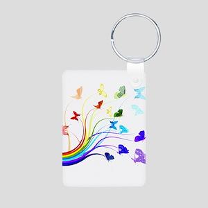 Butterflies and Rainbows Aluminum Photo Keychain