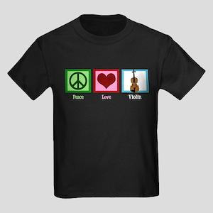 Peace Love Violin Kids Dark T-Shirt