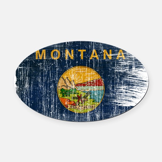 Montana Flag Oval Car Magnet