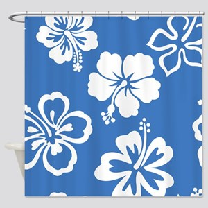 Blue & White Hibiscus Shower Curtain
