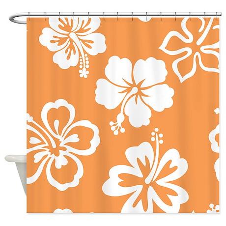 Orange & White Hibiscus Shower Curtain