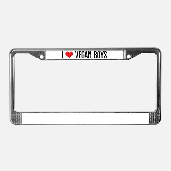 I Love Vegan Boys License Plate Frame