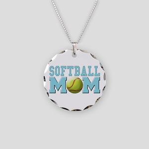 softball mom(white) Necklace Circle Charm