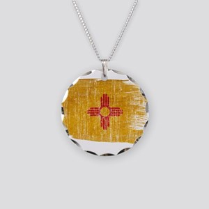New Mexico Flag Necklace Circle Charm