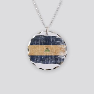 Nicaragua Flag Necklace Circle Charm