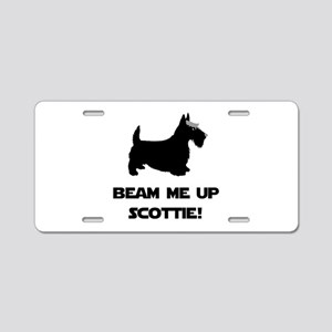 Beam Me Up Scottie Black Aluminum License Plat