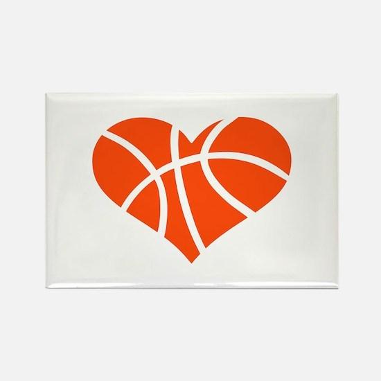 Basketball heart Rectangle Magnet