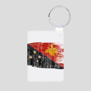 Papua new Guinea Flag Aluminum Photo Keychain