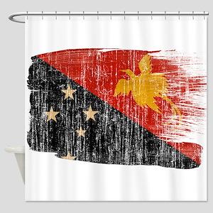 Papua new Guinea Flag Shower Curtain