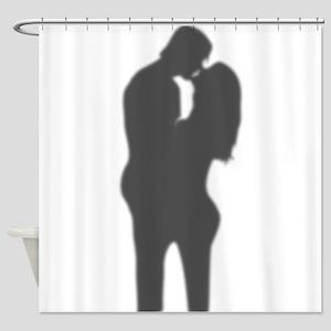 Romantic couple silhouette Shower Curtain