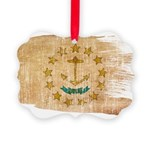 Rhode Island Flag Picture Ornament