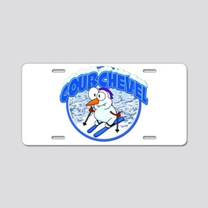Courchevel Snowman Aluminum License Plate