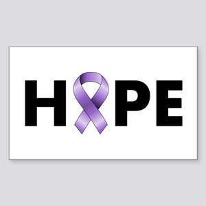 Purple Ribbon Hope Sticker (Rectangle)