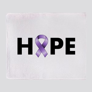 Purple Ribbon Hope Throw Blanket