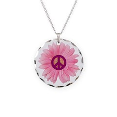 Pink Peace Daisy Necklace