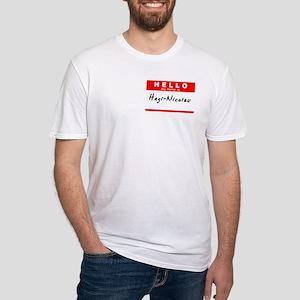 Hagi-Nicolau, Name Tag Sticker Fitted T-Shirt