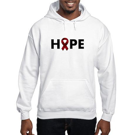 Burgundy Ribbon Hope Hooded Sweatshirt