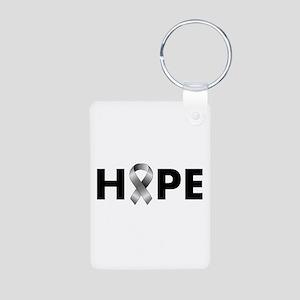 Grey Ribbon Hope Aluminum Photo Keychain