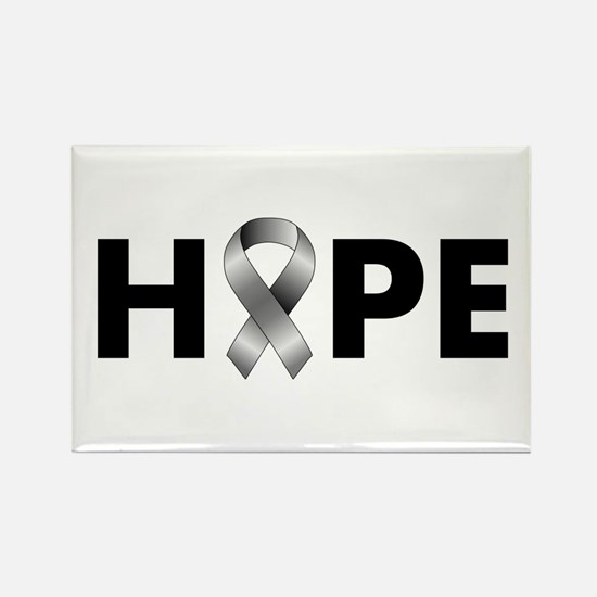 Grey Ribbon Hope Rectangle Magnet