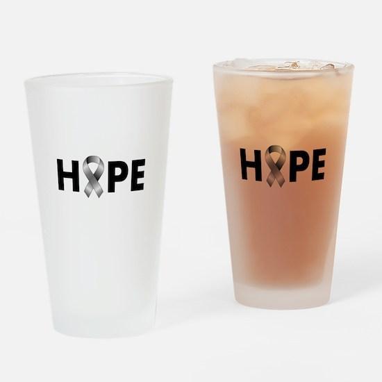 Grey Ribbon Hope Drinking Glass