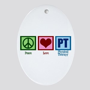 Peace Love PT Ornament (Oval)