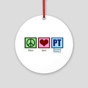 Peace Love PT Round Ornament