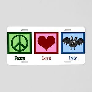 Peace Love Bats Aluminum License Plate