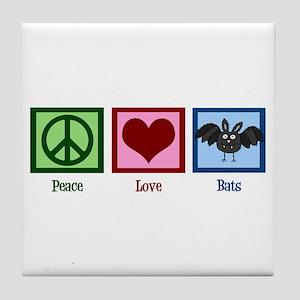 Peace Love Bats Tile Coaster
