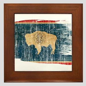 Wyoming Flag Framed Tile