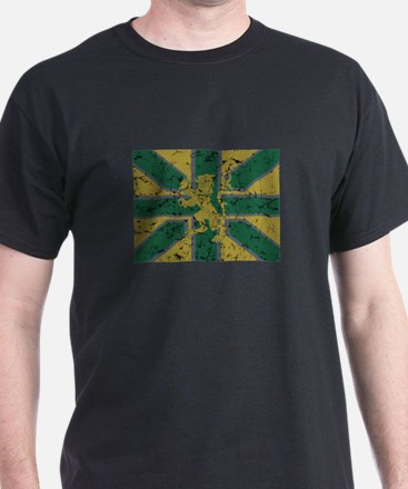 union jack olive Black T-Shirt