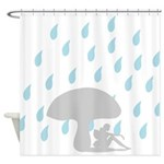 Fairy under toadstool in Rain silhouette Shower Cu