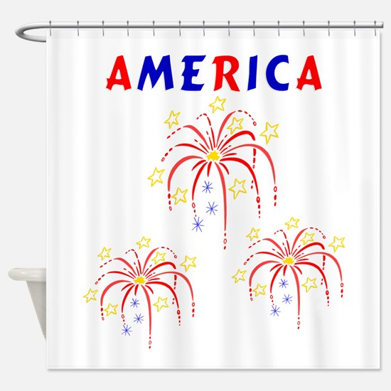 american FIREWORKS5.png Shower Curtain