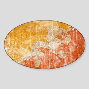 Bhutan Flag Sticker (Oval)