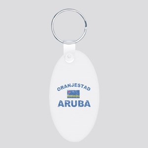 Oranjestad Aruba designs Aluminum Oval Keychain