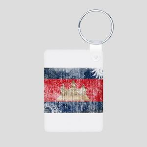 Cambodia Flag Aluminum Photo Keychain
